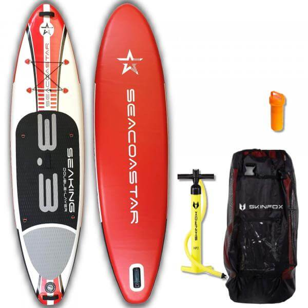SEACOASTAR SEAKING ALU-SET (325x80x15) Double-Layer SUP Paddelboard rot