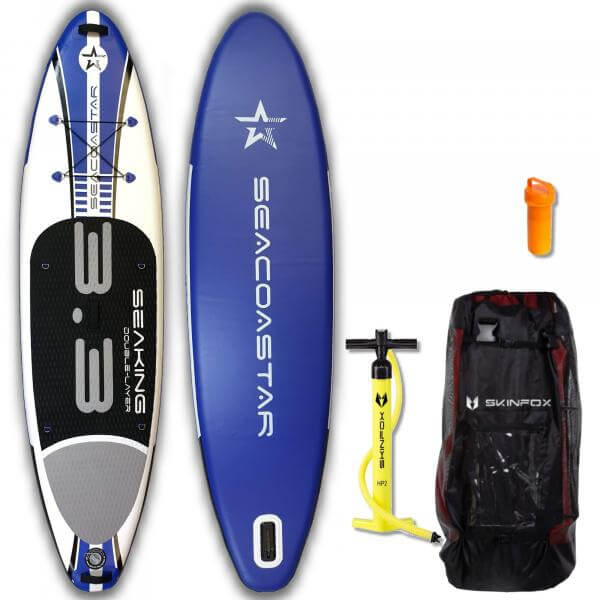 SEACOASTAR SEAKING ALU-SET (325x80x15) Double-Layer SUP Paddelboard blau
